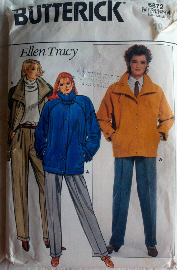 Butterick 6872 Vintage Sewing Pattern Women's Button Down Jacket with Pockets and Flared Cuffed Leg Pants Bust 32.5""