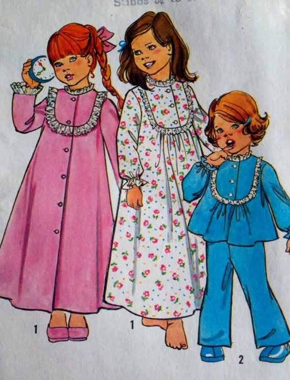 Simplicity 6687 Girls Button Down Robe, Pajamas & Nightgown Vintage Sewing Pattern  - Size 5 Breast 24""