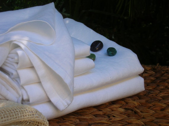 SALE- Three Piece Set - Spa White Linen Bath - Soft Laundered Linen- Color: White - Perfect Travel Towel