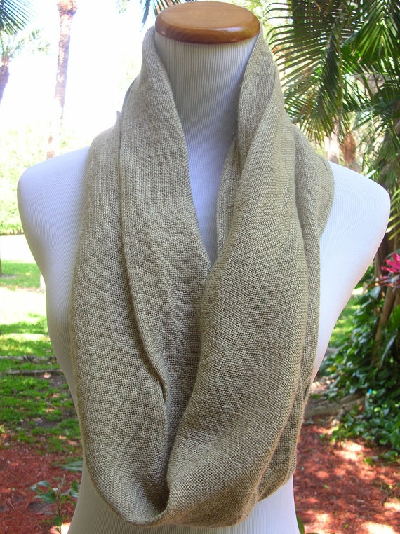 Holiday Sale - Natural Linen Cowl Scarf- 100% Italian Linen- Color: Natural