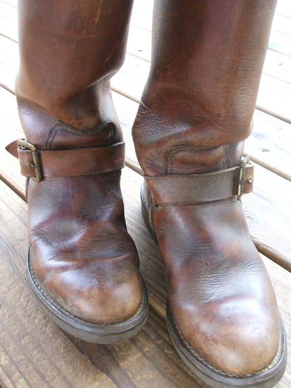 vintage russ snake boots heavy thick brown leather with straps