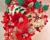 "No. 37 Day of the Dead Sugar Skull 5"" Christmas Ornament - poinsettias & snowflakes"