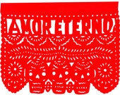 Original Paper Cutting Amor Eterno Love Forever Papel Picado - Wedding Anniversary Engagement COLOR CHOICE
