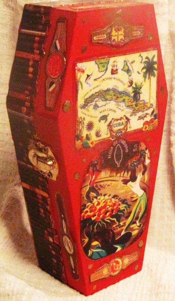 Cuban Shrine - wood COFFIN Box - vintage images of CUBA cigars,  rum & travel 6""