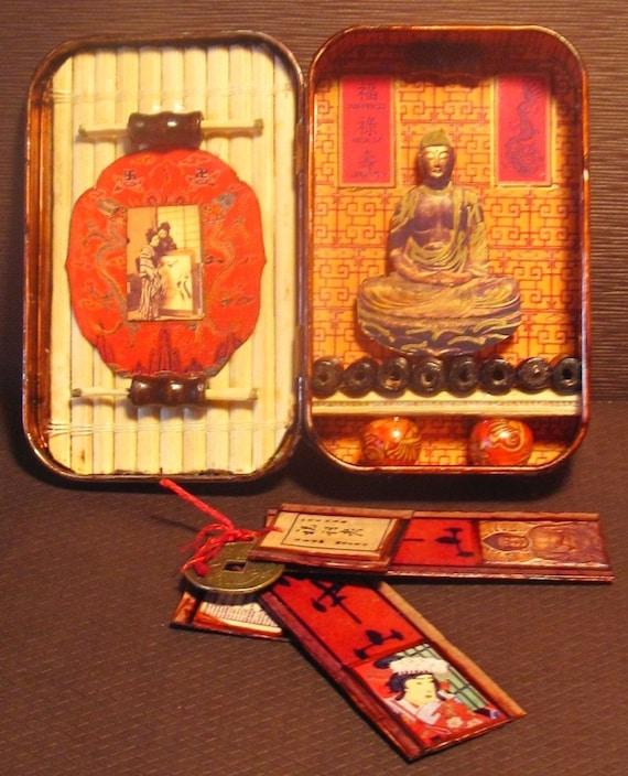 Japanese Buddhism Mini Shrine Tin Box Pocket Shrine For
