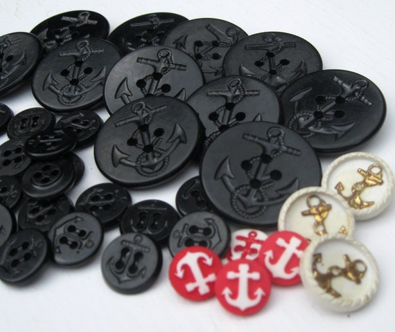 Vintage Nautical Buttons with Anchors, 43 Assorted styles and sizes