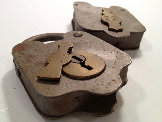 Vintage Padlocks: Industrial Manly Pair for Dad