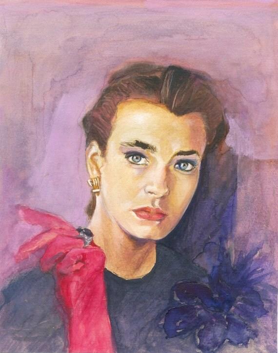Portrait Painting - Lavender Girl - original gouache painting- Fine Art - portrait- purple pink