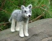 Gray Wolf Felt Kit - Complete with Alpaca Fiber, Felting Needles, Detailed Photo Instructions