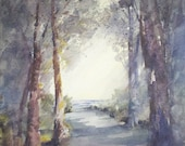 """Landscape, trees, beach, light rays, path. Through the Opening- Original Watercolor Painting 16"""" x12""""."""