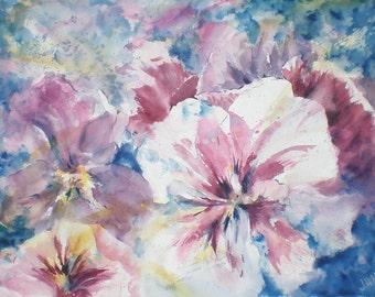 """Floral, flowers, macro, pink, blue. Pretty Pansies- Original Watercolor Painting 22"""" x 30""""."""