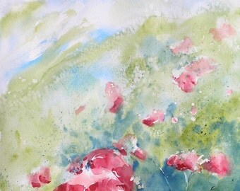"Landscape, poppy, red, flowers, floral, green. Poppies II- Original Watercolor Paintings 20"" x 14""."