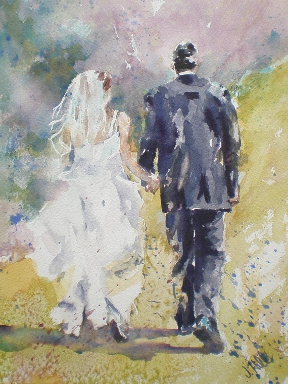 """Just Married - Original Watercolor Painting 10"""" x 7"""""""