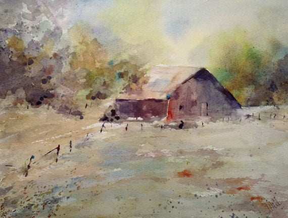 """Landscape, Red barn, fence, fall colors. SALE. Now 30% off- This Old Barn- Original Watercolor Painting 9"""" x 12""""."""