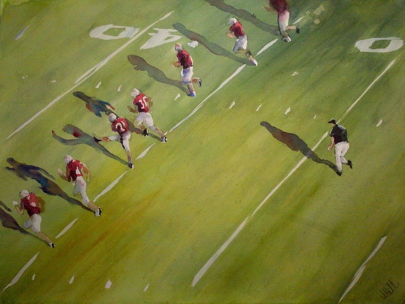 "Football, man cave art, field, referee, figurative. Original Watercolor Painting (22"" x 30""). Kick Off II"
