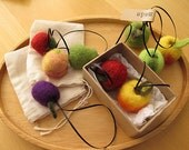 Custom order for Connie----Felt Veggies Ornaments -Set of 3 fruits-Made to Order
