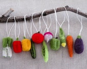 Christmas Tree Felted Vegetable Ornaments- Gift Set of 11