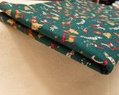 Vintage Green Christmas Cotton Fabric 18 x 44
