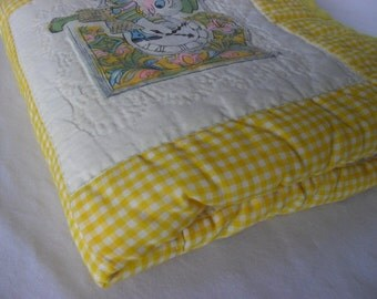 Three Blind Mice Baby Quilt 32 x 40 Hand Quilted Nursery Blanket in Yellow Gingham Hickory Dickory Dock