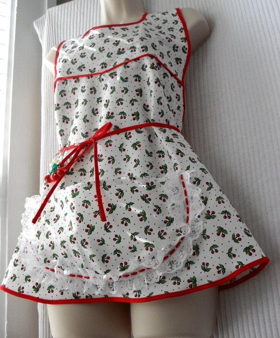 Cherry Apron with Crochet Earings Petite