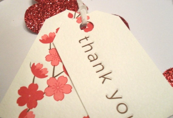 10 Cherry Blossom Embossed Thank You Tags