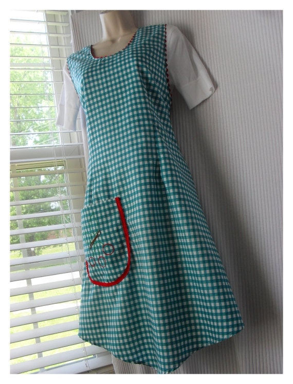 Plus Size Vintage Inspired Full Teal Apron