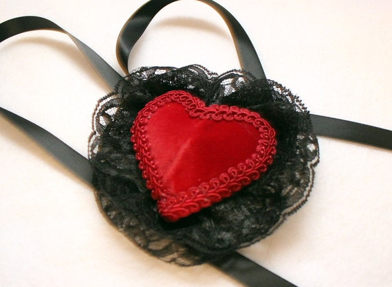 Red Velvet Heart Eye Patch with Black Lace Red Trim and Black Ribbon Ties