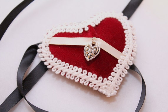 Red Velvet Heart Eyepatch Eye Patch White Trim Cream Satin Ribbon with Heart Charm with Black Ribbon Ties