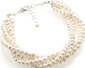 Cream Freshwater Pearl Twist Bracelet - Bridal/Bridesmaid