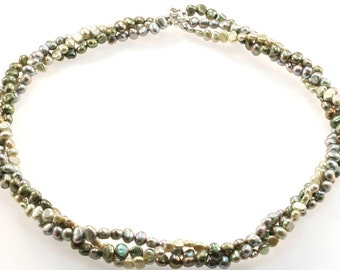 Freshwater Pearl Twist Necklace - Lime