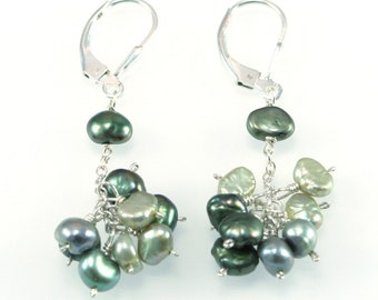 Freshwater Pearl Earrings - Lime/Green