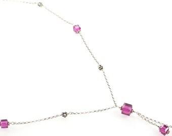 Swarovski Crystal Square Necklace - Fuschia