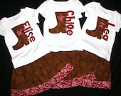 Adorable 2 Piece Outfit - Cowgirl Skirt with red bandanna border, Shirt with cowboy boot personalized name - sizes NB - 16