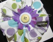 Fun and funky ripped lime green and purple polka dot  bow for baby, girl, teens and tweens