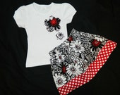 3 piece outfit - Michael Miller designer fabric skirt, flower applique shirt, matching bow for baby, girls and tweens in sizes NB -16