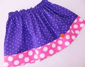 Girls favorite colors, hot pink and purple polka dot skirt for baby, toddler, tween girl - sizes NB - 16