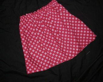 Cute red and pink polka dot Strawberry Shortcake SKIRT for baby and girls in sizes NB 3m 6m 9m 12m 18m 24m 2T 3T 4T 5T 6 7 8 10 12 14