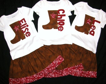 Adorable 3 Piece Outfit - Cowgirl skirt with red bandana border, shirt with cowbow boot personalized, and bow - sizes NB - 16