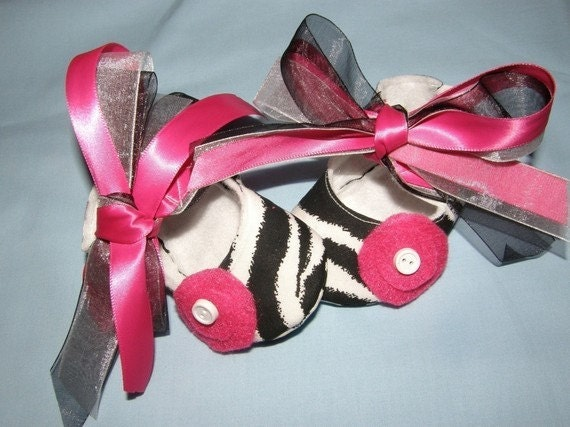 Mary Jane zebra baby bootie shoes with hot pink accents in sizes newborn to 18 months