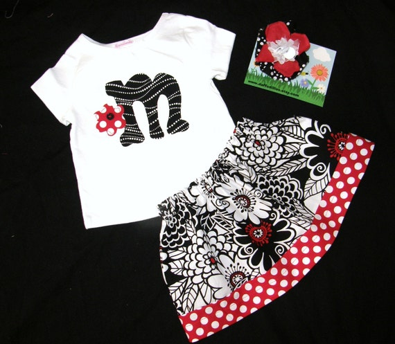3 piece outfit - Michael Miller designer fabric flower print skirt with red, black and white with polka dot border, personalized initial shirt and matching bow for baby, girls and tweens in sizes NB 3m 6m 9m 12m 18m 24m 2T 3T 4T 5T 6 7 8 10 12 14