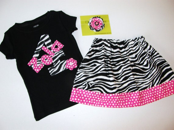 3 piece outfit - Black shirt with zebra print personalized name and number applique, zebra skirt, bow sizes NB - 16