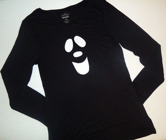 Trendy Halloween ghost  applique black knit shirt short or long sleeves for boy or girl sizes NB -16, adults XS- XXL