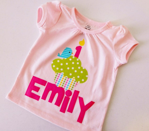 Pink birthday shirt with lime green polka dot cupcake with blue birdie and number candle applique personalized with name in sizes NB - 16