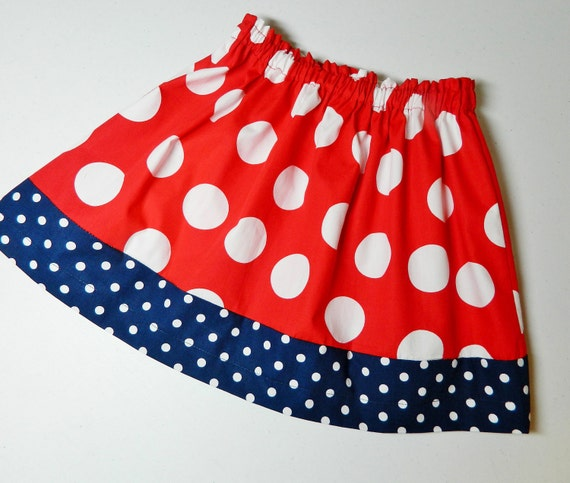 Girl, toddler, tween summer skirt with patriotic red, white and navy blue polka dot designer fabric  in sizes NB - 16