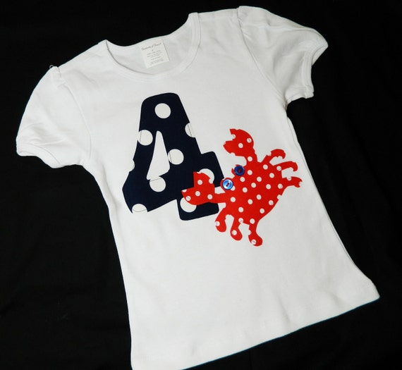 Summer at the ocean - red, white and blue polka crab personalized birthday number or initial shirt sizes NB - 16