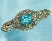 Vintage Art Deco Aqua Glass Filigree Bar Pin