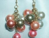 Vintage Dangling Bead Cluster Earrings