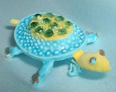 Vintage Enamel and Rhinestone Turtle Brooch