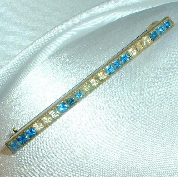 Vintage Art Deco Blue Rhinestone Bar Pin