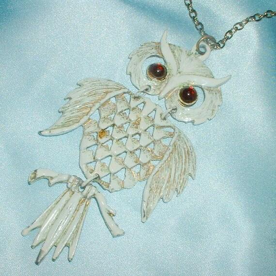 Vintage 1960's Enameled Articulated Owl Necklace